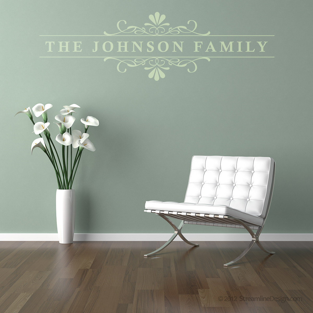 Personalized Floral & Scroll Wall Graphic. Custom made with your wording.