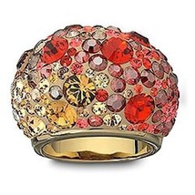 AUTHENTIC SWAN SIGNED SWAROVSKI CHIC GOLD OMBRÉ DOME RING 893002 SIZE 55... - $89.00