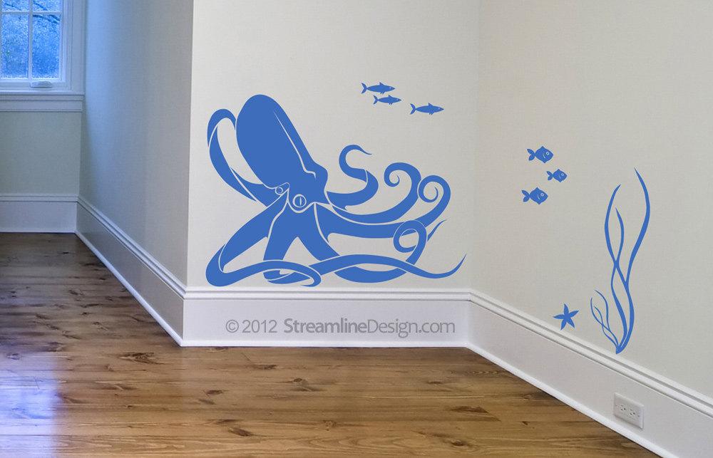 Octopus and Fish Underwater Scene - Wall Art