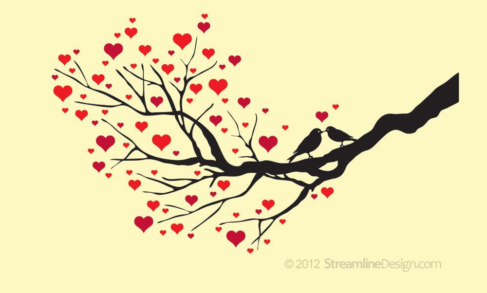 Love Birds on Branch Vinyl Wall Art Decoration