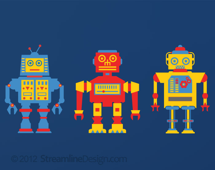 Printed Primary Robots Vinyl Wall Art - Set of 3 - on Reusable Wall Fabric