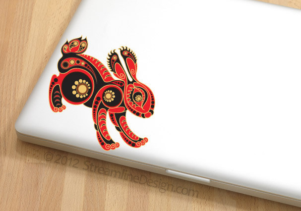 Red Rabbit Vinyl Laptop Art