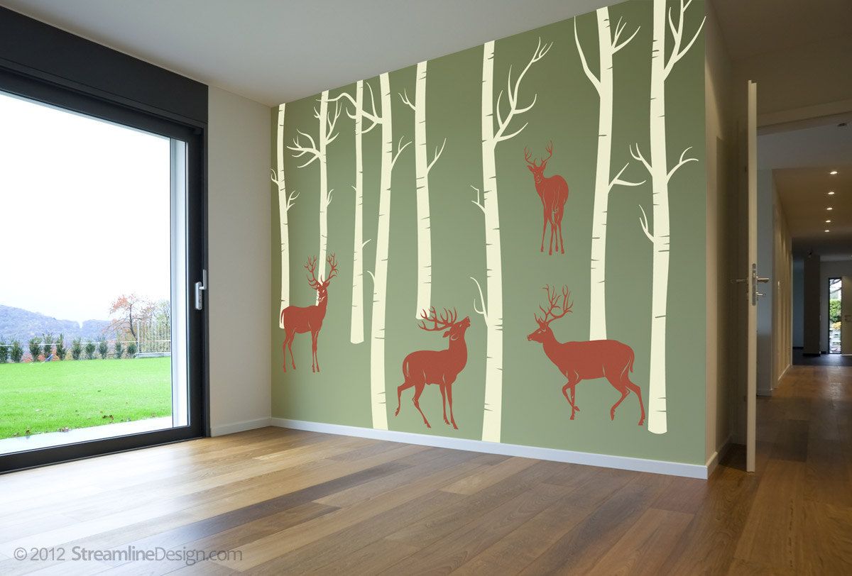 Woodland Scene with Birch Trees and Deer