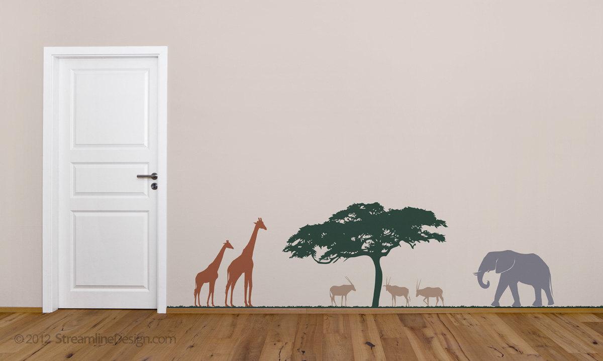 Wild Animals of the Savanna Vinyl Wall Art Decor