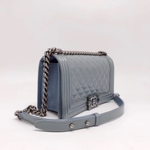 Authentic Chanel Quilted Patent SKY BLUE RARE MEDIUM Boy Flap Bag  image 3