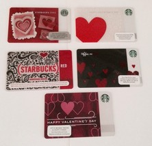 5 Starbucks Valentines Hearts Gift Cards Lot Adler Paperheart Black Red Collect - $16.99