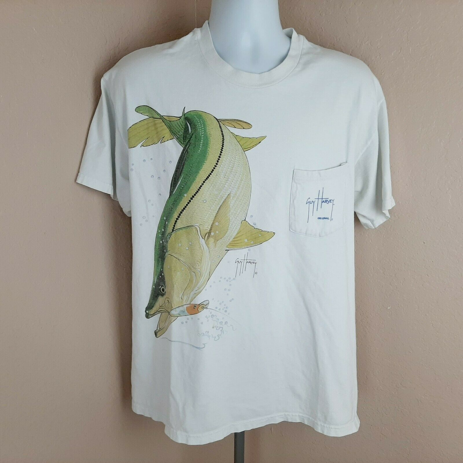 Primary image for Guy Harvey By Aftco Mens Pocket T-shirt Snook Size Large White SN14