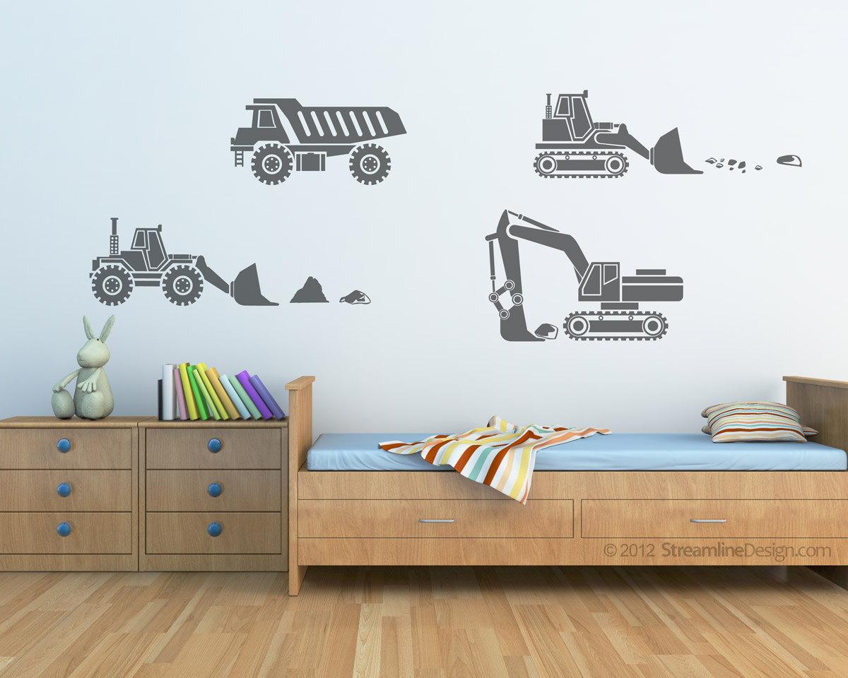 Kids Big Rig Construction Vehicles Set Vinyl Wall Art Decor