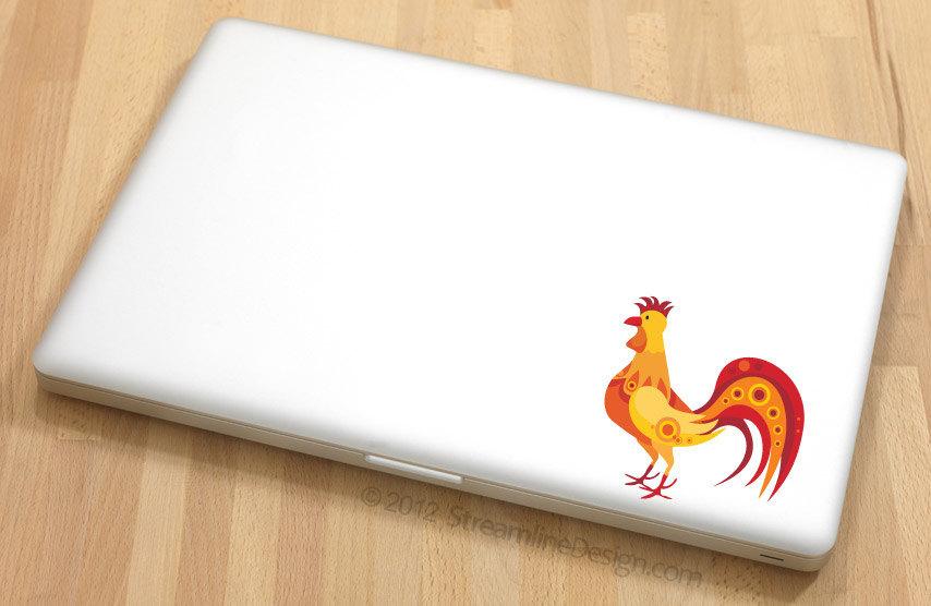 Whimsical Rooster Vinyl Laptop Art