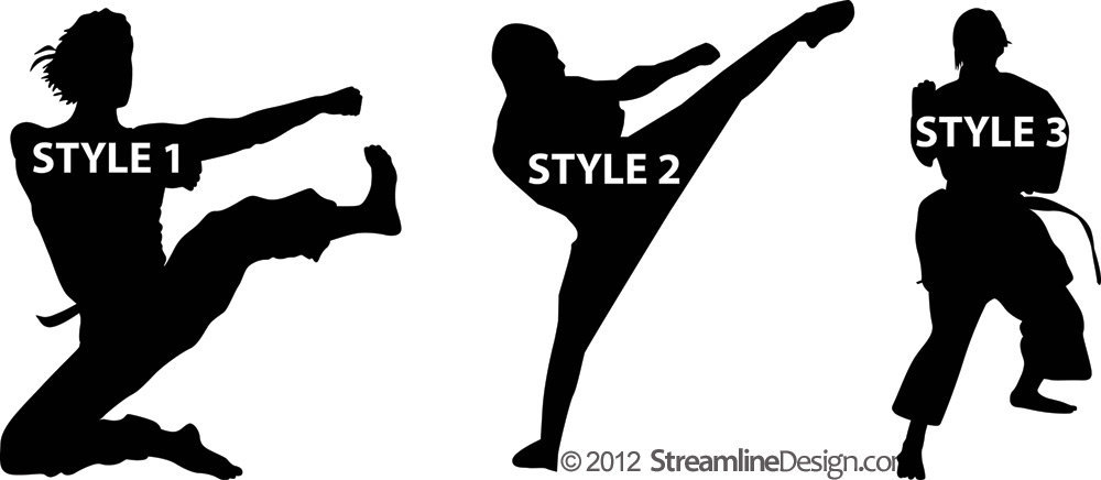 Large Martial Arts Silhouettes Wall Art - Three Styles to Choose From