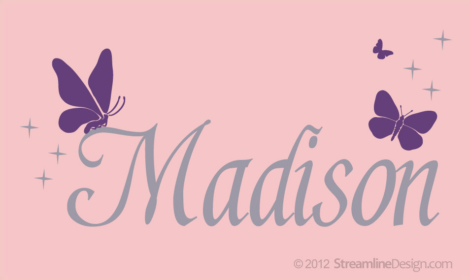 Personalized Name with Butterflies Vinyl Wall Art