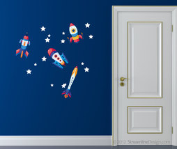 Reusable Wall Fabric Four Rocket set with Stars - Set Two - $19.95