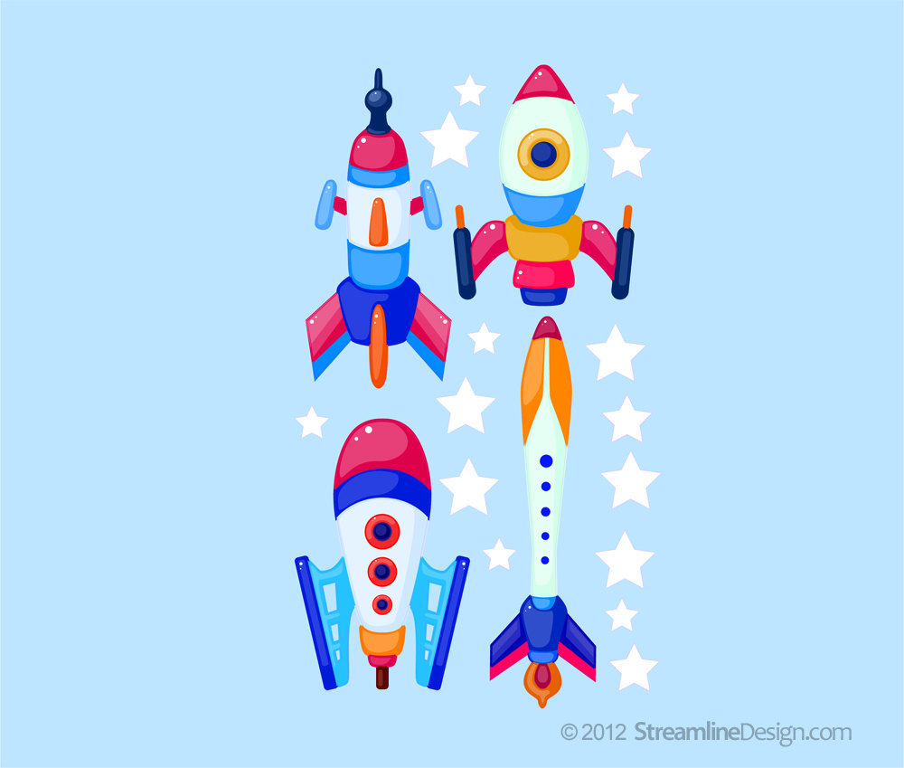 Reusable Wall Fabric Four Rocket set with Stars - Set Two