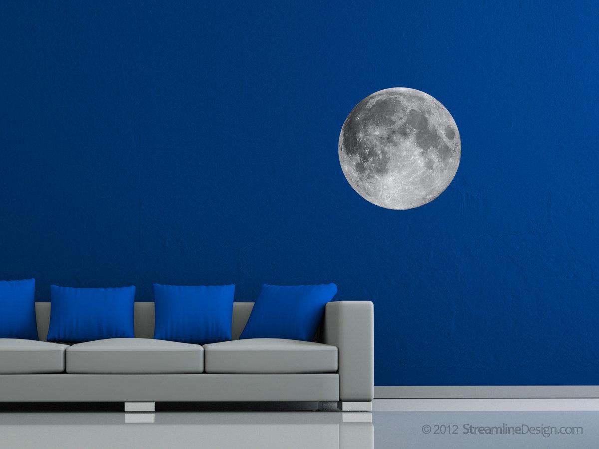 Large Moon Print - High Resolution Image on Adhesive Reusable Fabric
