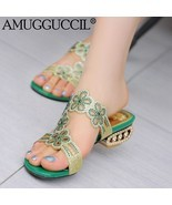 Sandals Green Blue Rhinestone Fashion Female Lady Women Summer - $45.78 CAD+