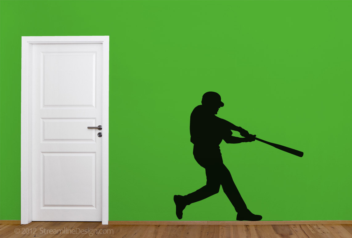 Baseball Player Silhouette Vinyl Wall Art