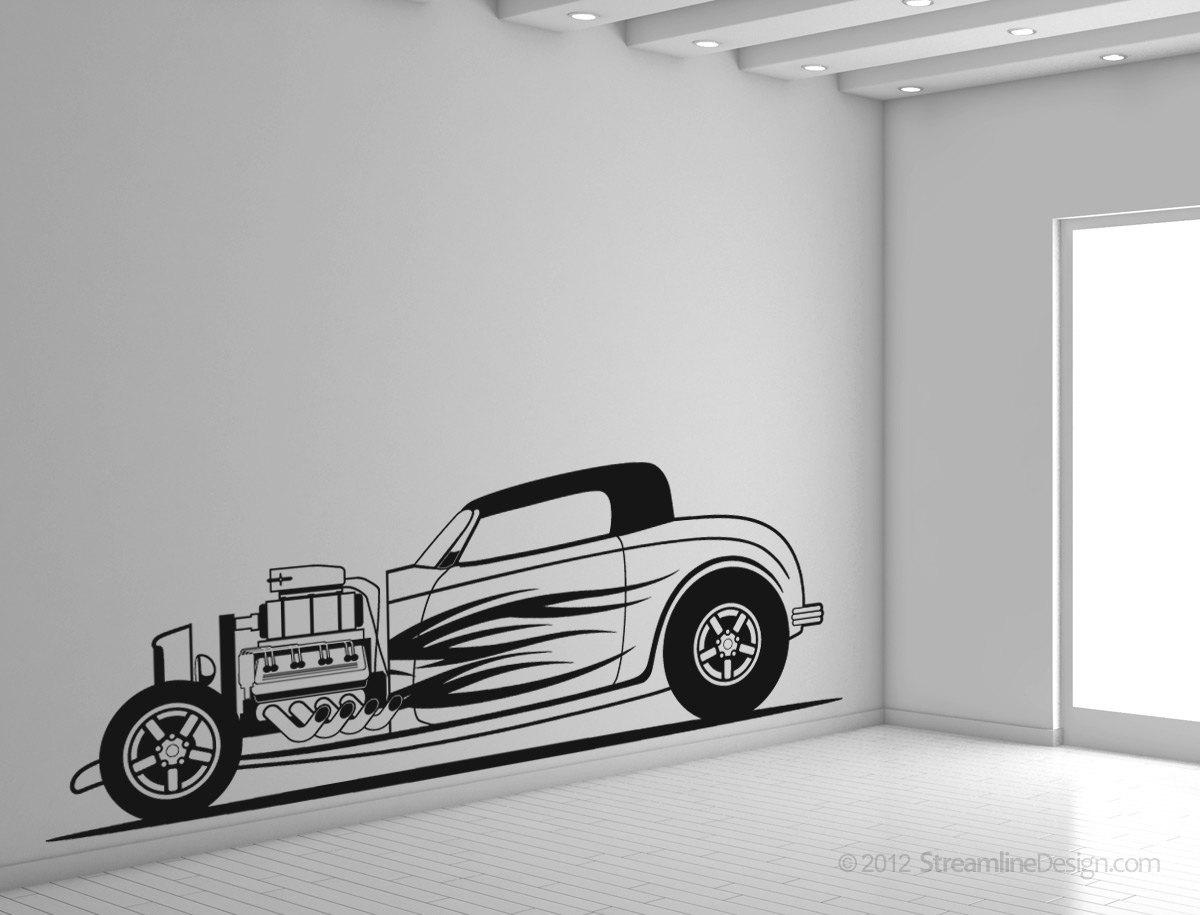 Huge Hot Rod Roadster Man Cave Vinyl Wall Art - No. 2