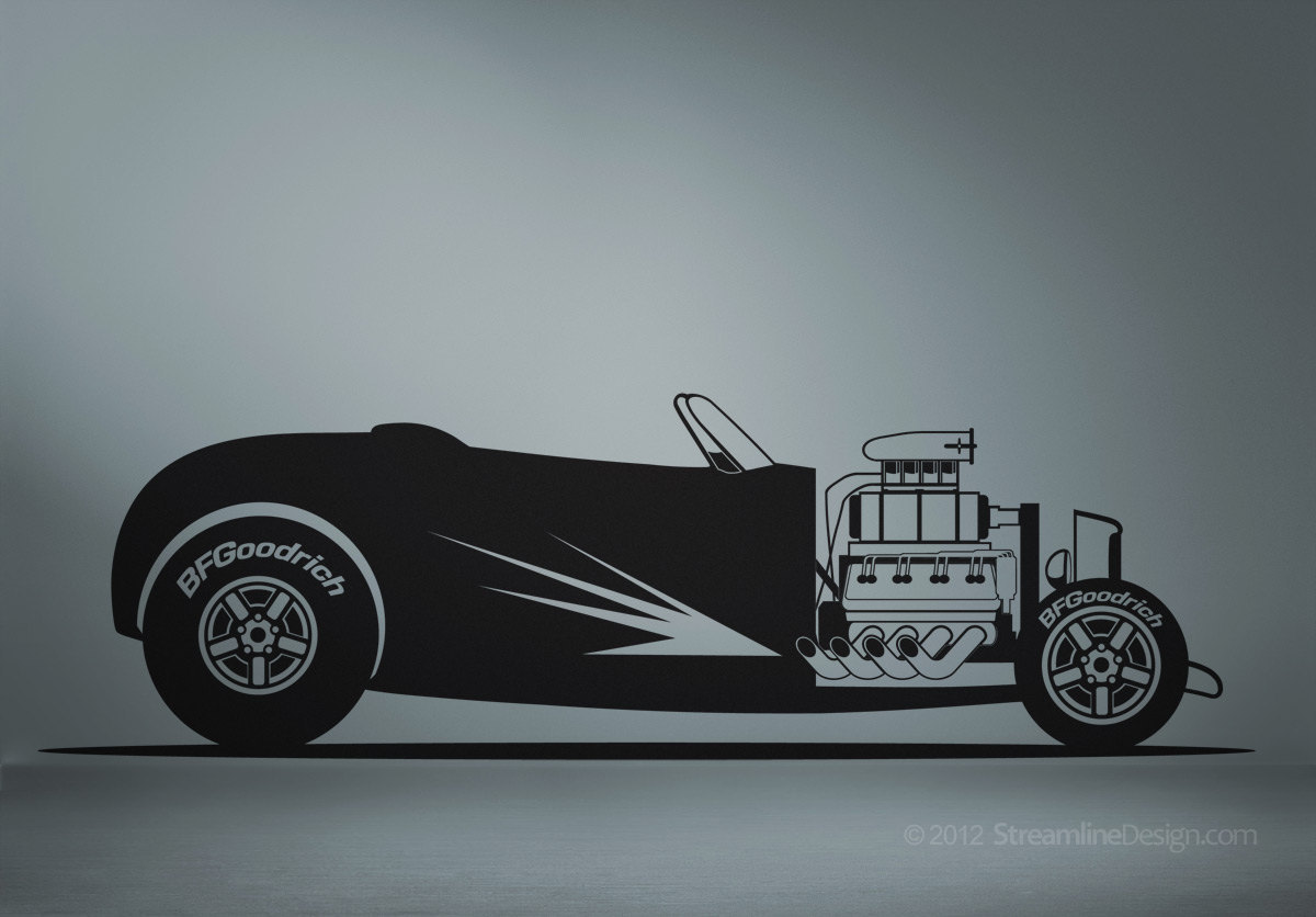 Huge Hot Rod Roadster Man Cave Vinyl Wall Art - No. 1