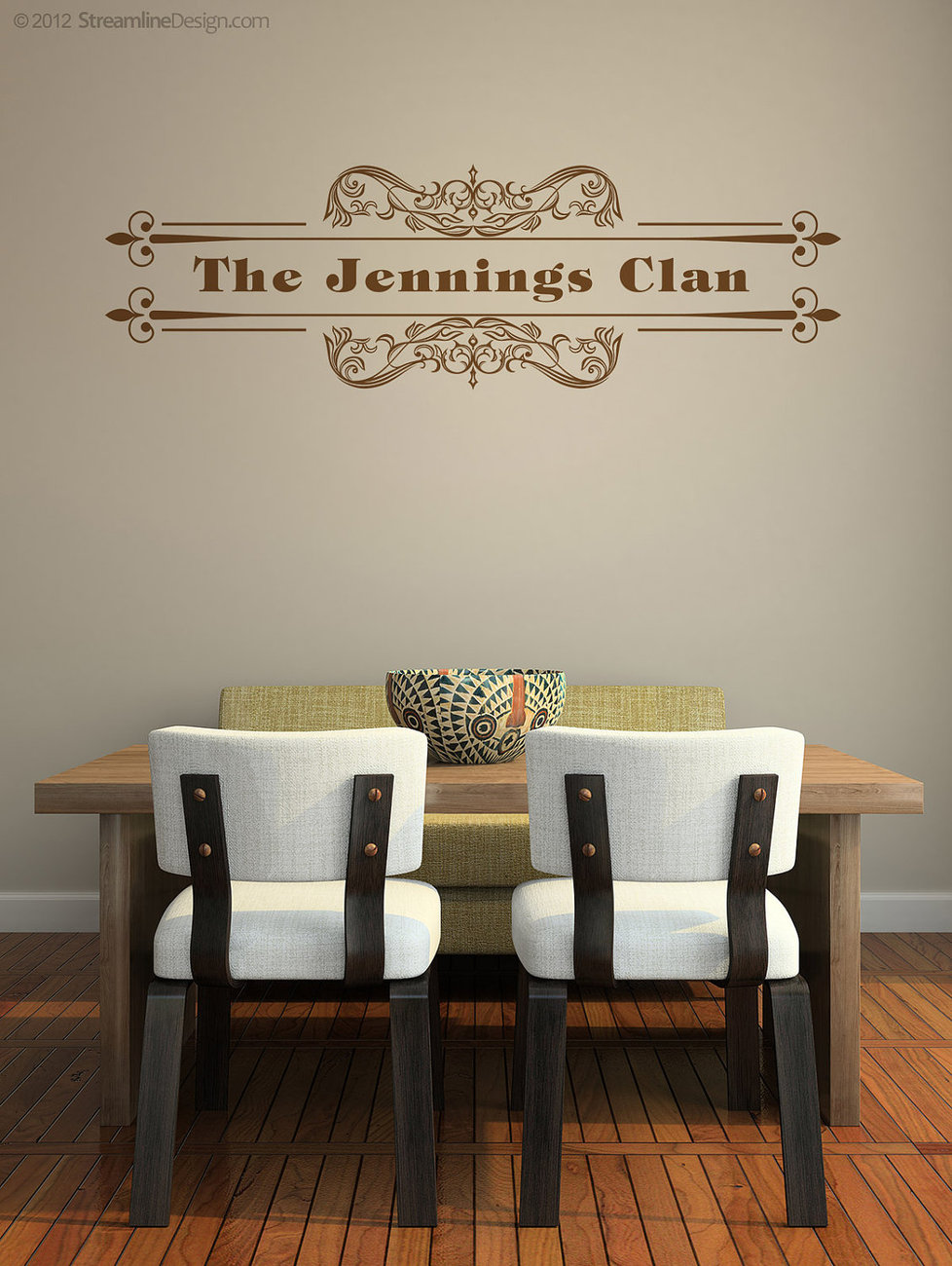 More Personalized Floral & Scroll Wall Graphics. Custom with your wording.