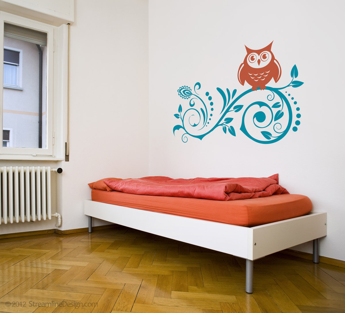 Owl on Floral Scroll Tree Branch.  Decorative Vinyl Wall Art
