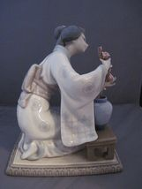 Lladro Oriental Woman  with flowers 4840 vintage retired porcelain - $700.00