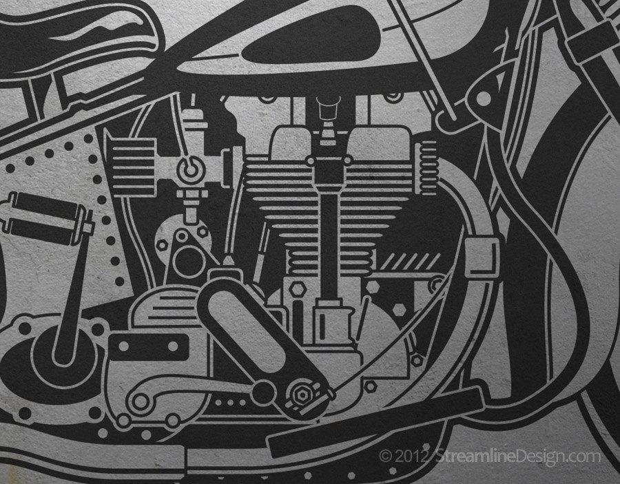 Life Size Vintage Retro Motorcycle Vinyl Wall Art Graphic