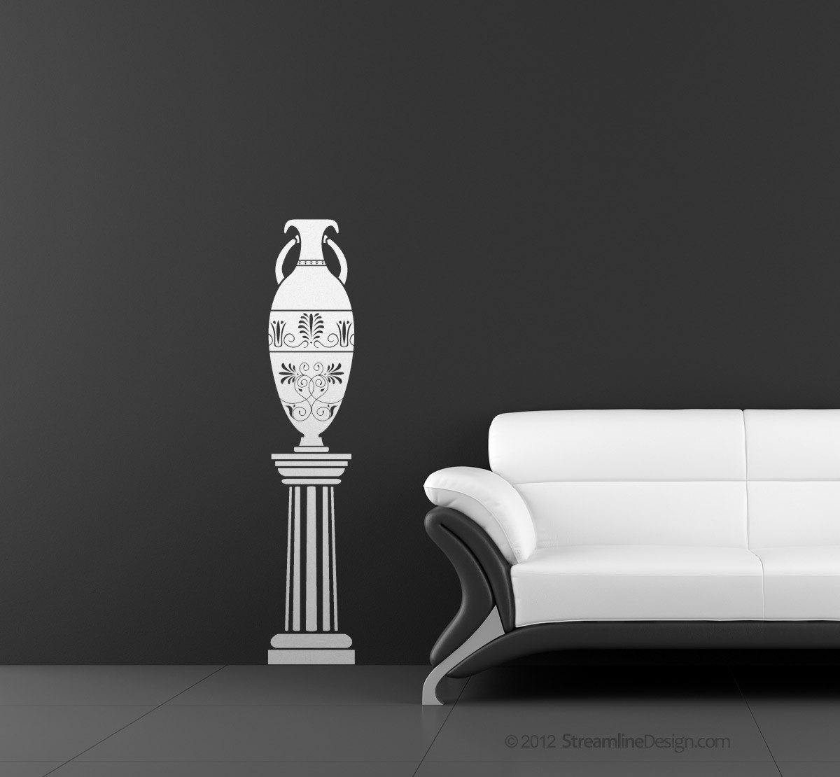 Ancient Greek vase on column - vinyl wall art.