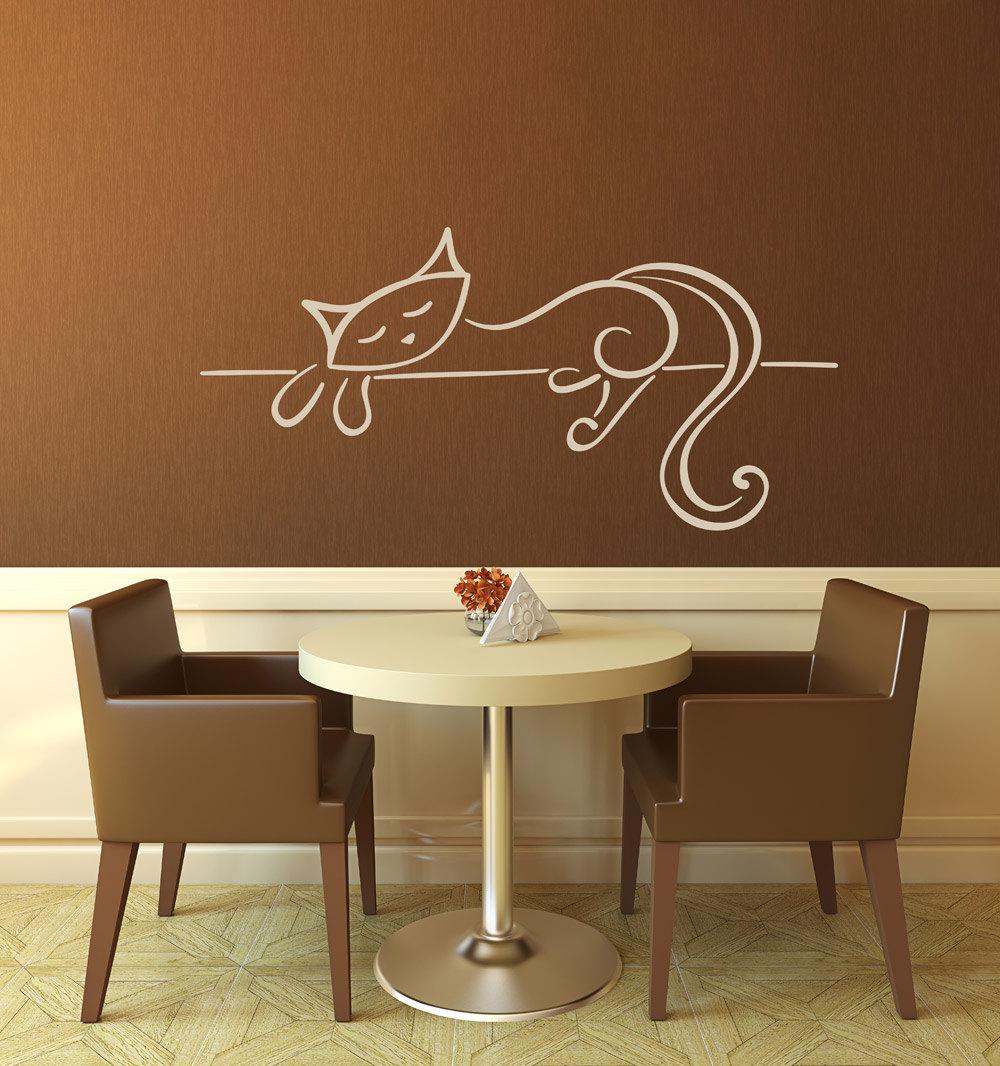 Lounging cat wall vinyl art decoration
