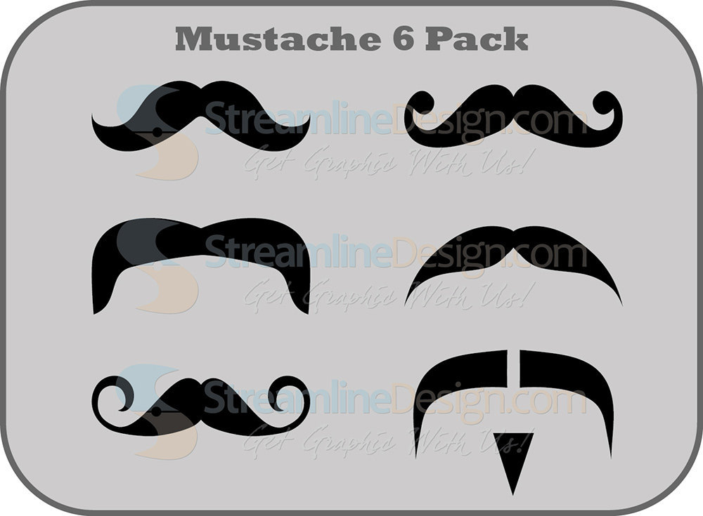 Mustache 6 Pack, Vinyl Sticker / Decal Set of 6 Different Styles - FREE SHIPPING