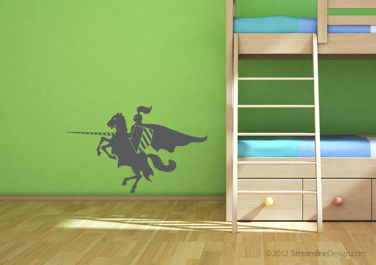 Jousting knight on horseback wall vinyl graphic art