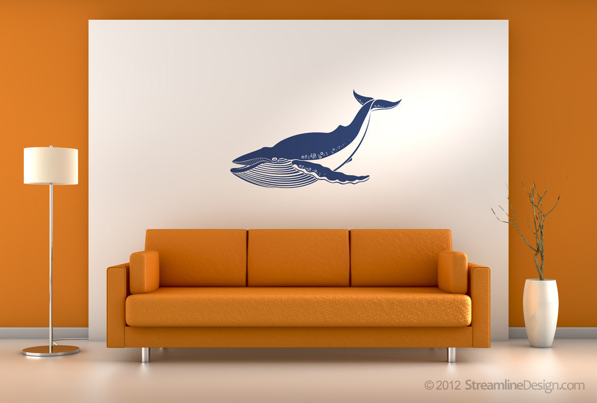 Giant blue whale vinyl wall art decoration.