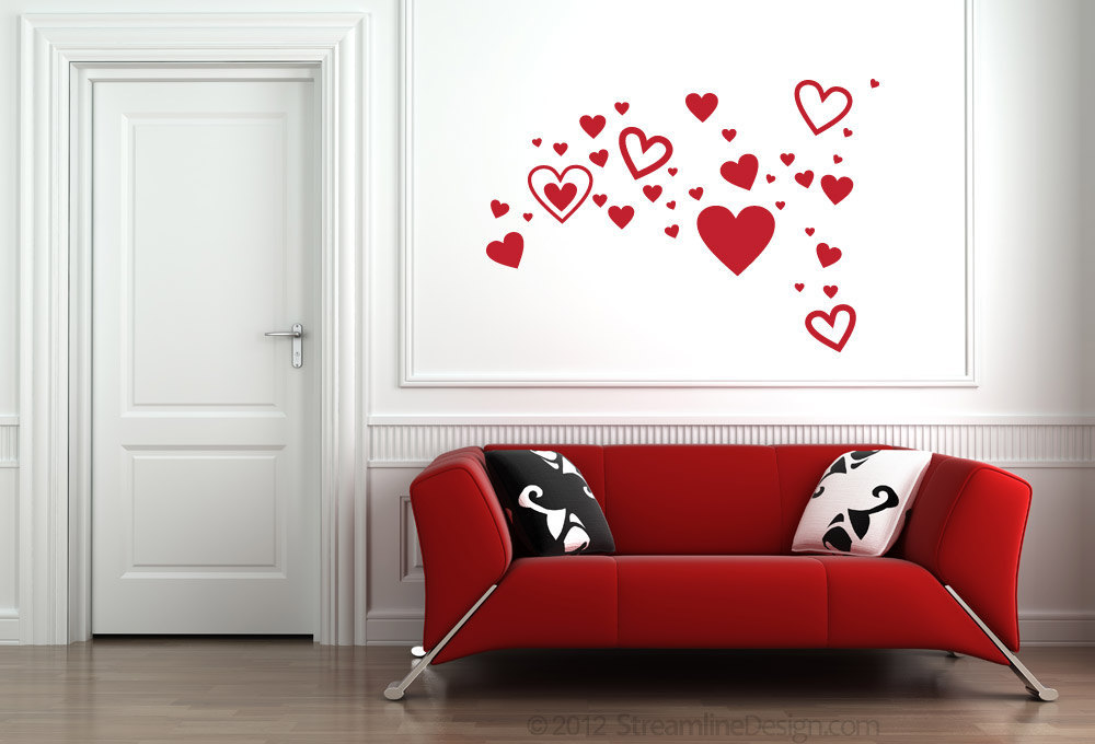 Set of 35 Hearts Vinyl Wall Art - Perfect for Valentine's Day or Showing Your Lo