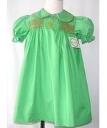 Smocked Monogram dress , Sale Smocked Dress, Clearance Girl Green Dress - $29.00
