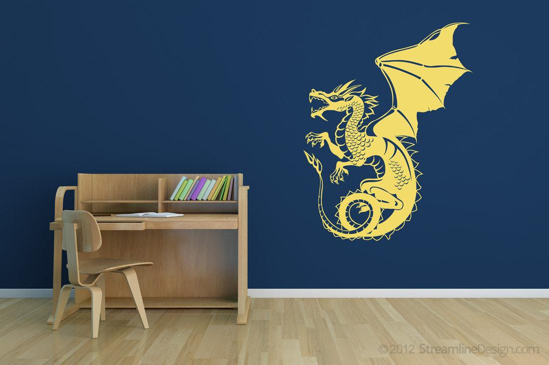 Giant Detailed Dragon Vinyl Wall Art