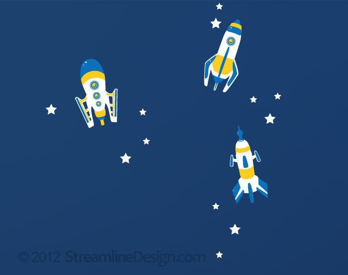 Blue Rockets with Stars Vinyl Wall Art - Set of 3