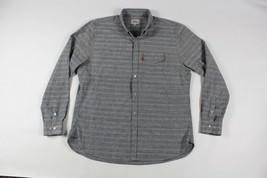 DQM New York Mens XL Heavy Cotton Streetwear Striped Button Shirt Blue Vans - $38.56