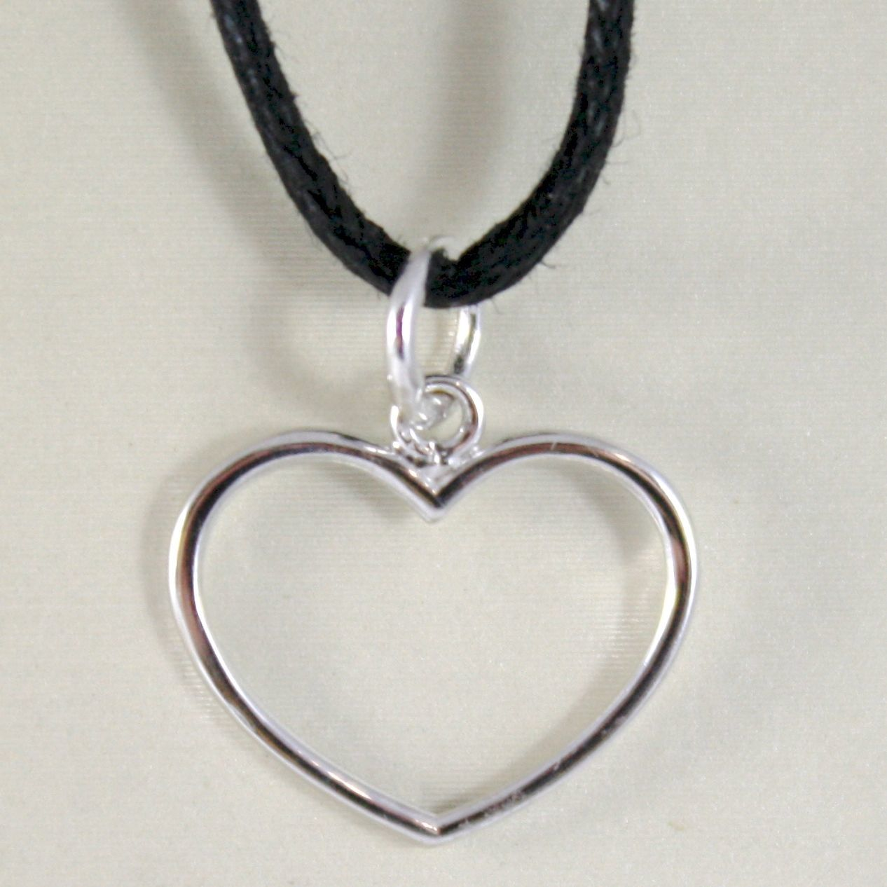 WHITE GOLD PENDANT 750 18K, HEART, LONG 1.7 CM, PENDANT, MADE IN ITALY