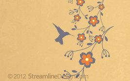 Hummingbird on Flowers Vinyl Wall Art - $24.95