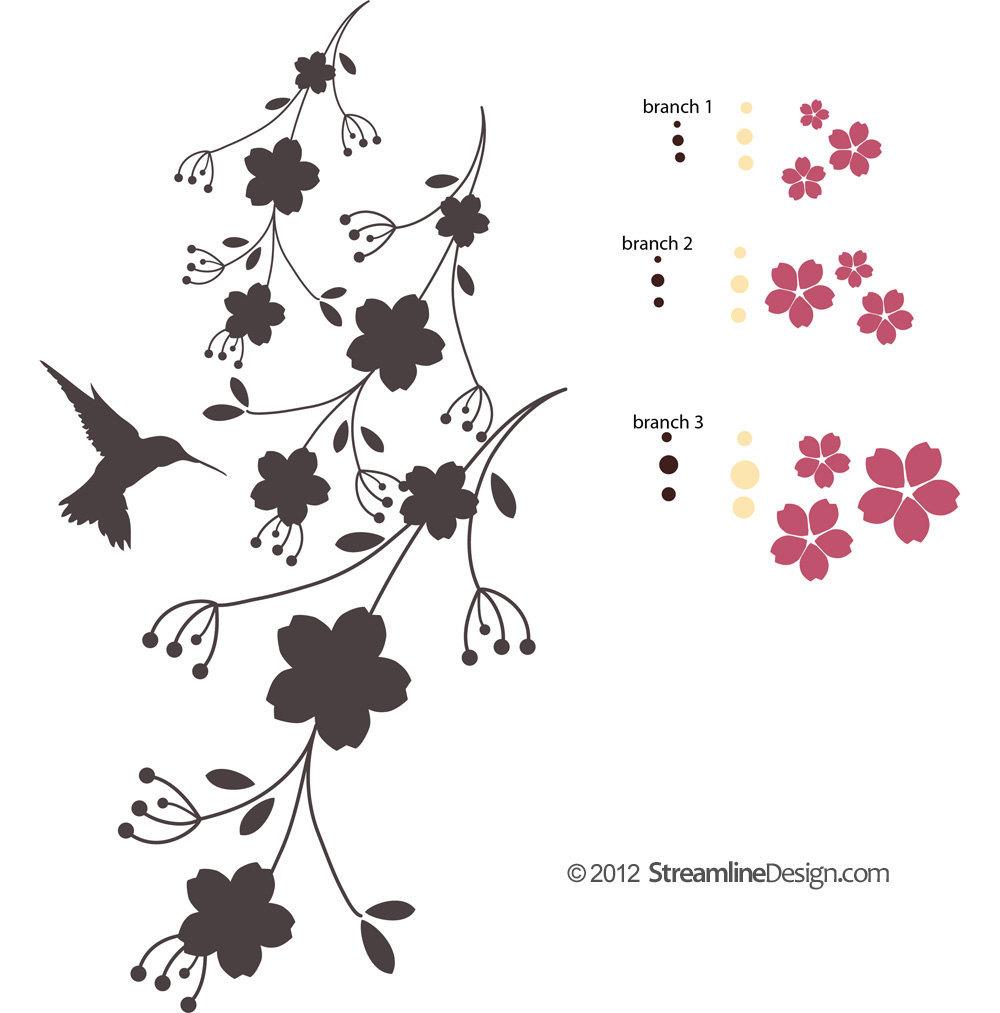Hummingbird on Flowers Vinyl Wall Art