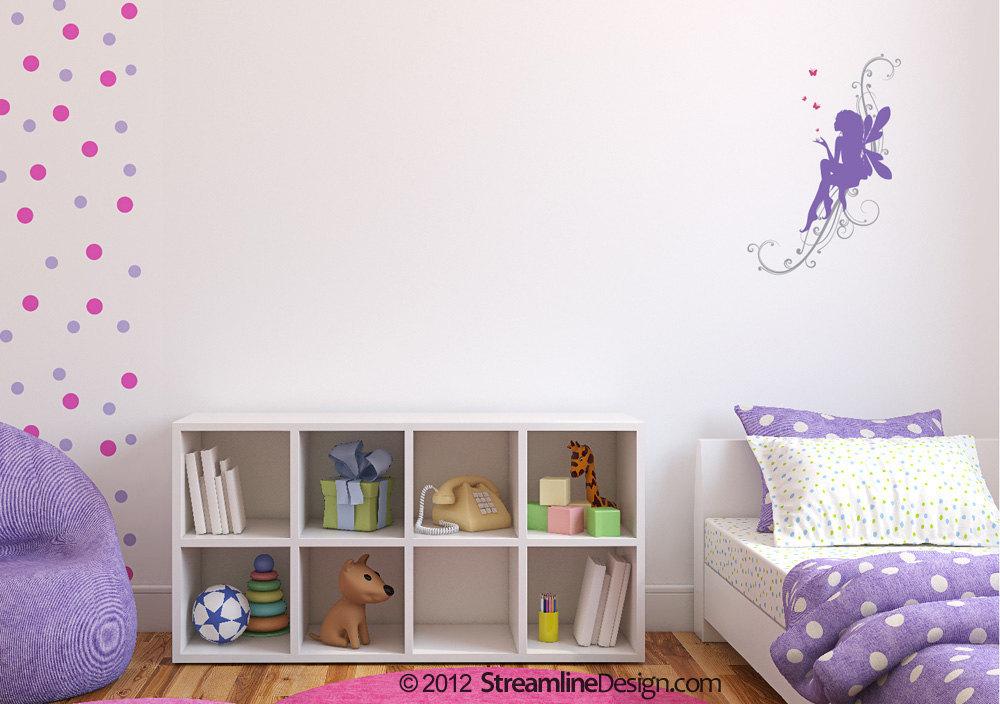 Fairy on Scrollwork with Butterflies Vinyl Wall Art