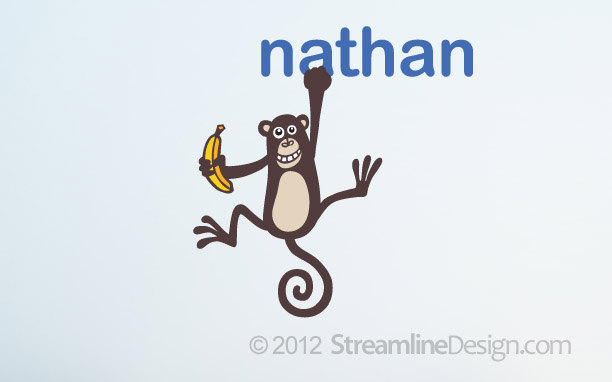 Monkey Hanging from a Personalized Name Vinyl Wall Art