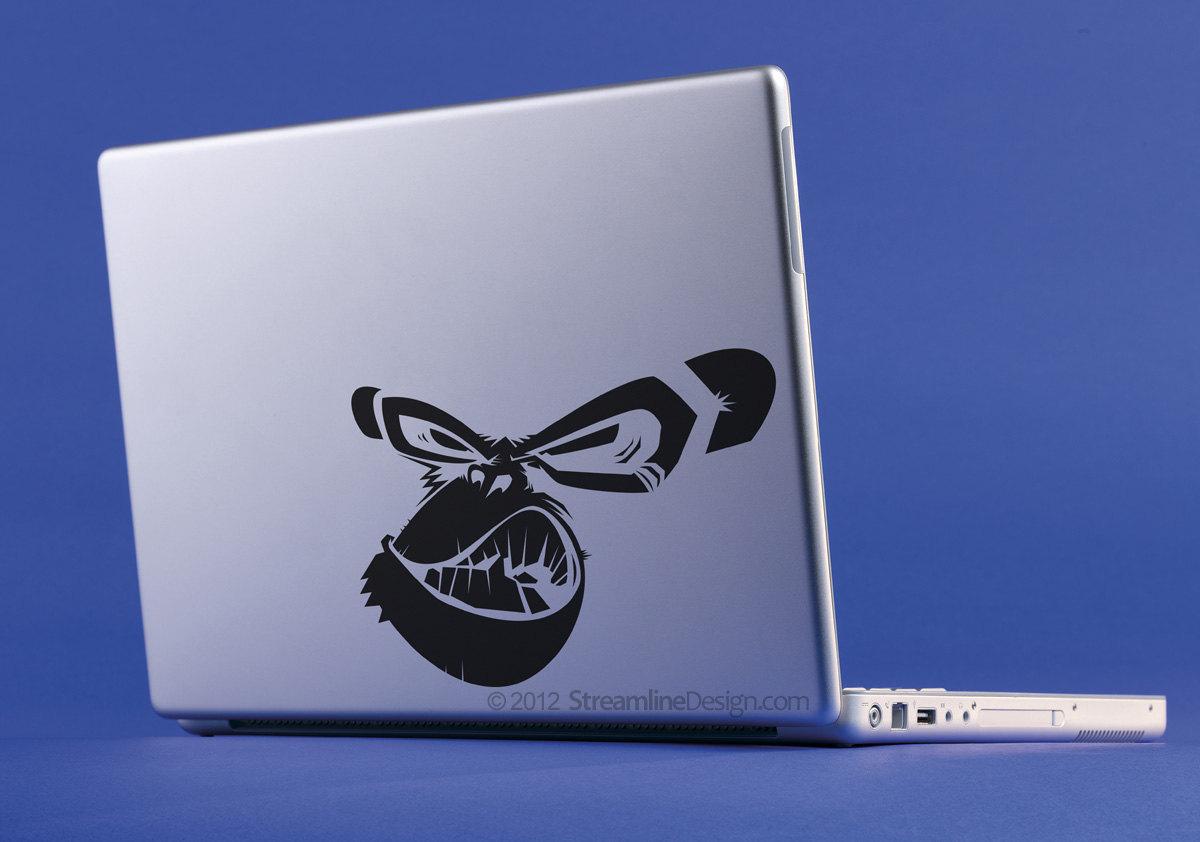 Angry Chimp Vinyl Laptop Art. Free Shipping.