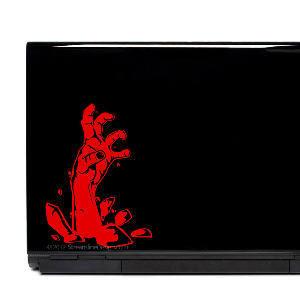 Zombie Hand Vinyl Laptop Art. FREE SHIPPING.