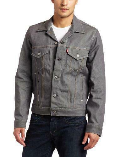 Levi's Men Premium Button Up Denim Jean Jacket Relaxed Rigid Gray 707970002