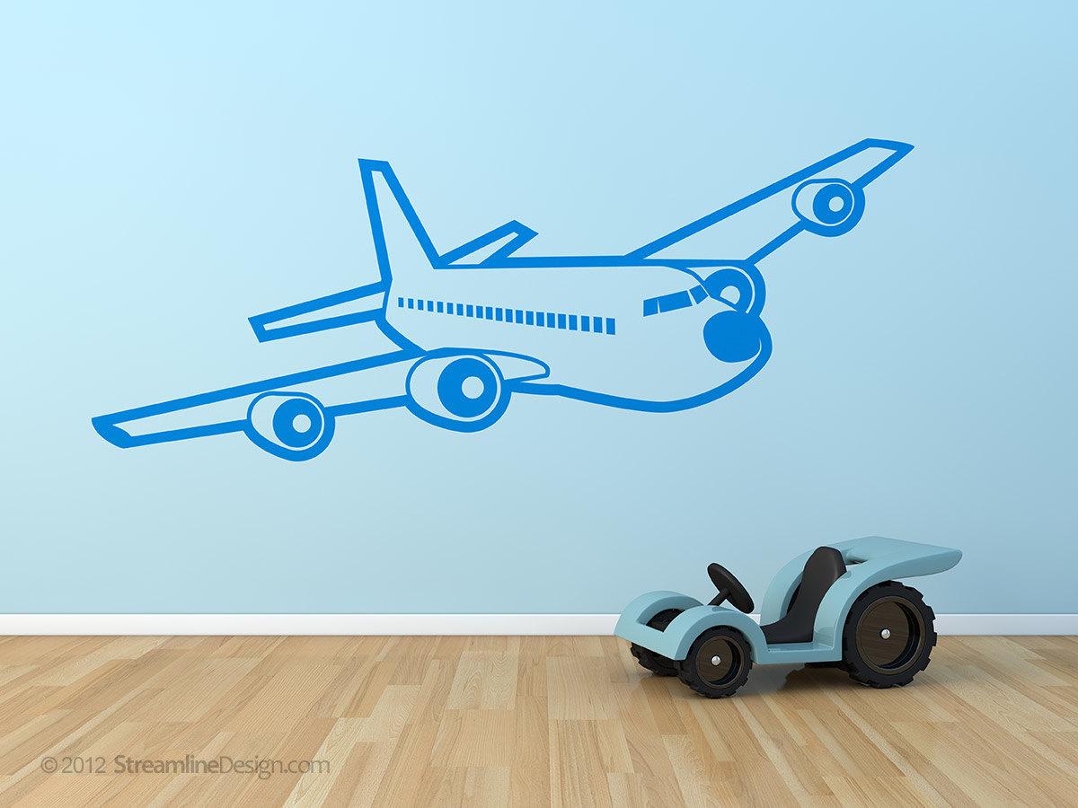 Giant Passenger Airplane Vinyl Wall Art 3d Style