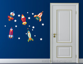 Reusable Wall Fabric Five Rocket set with Stars - Set One - $22.95