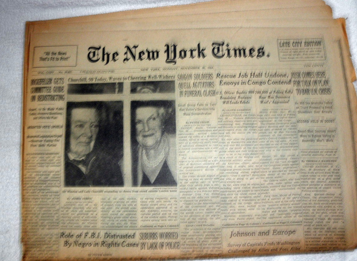 Primary image for The New York Times November 30, 1964