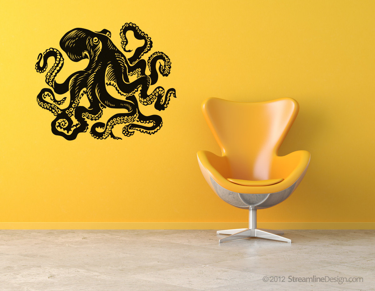 Giant octopus vinyl wall art. 54 inches wide