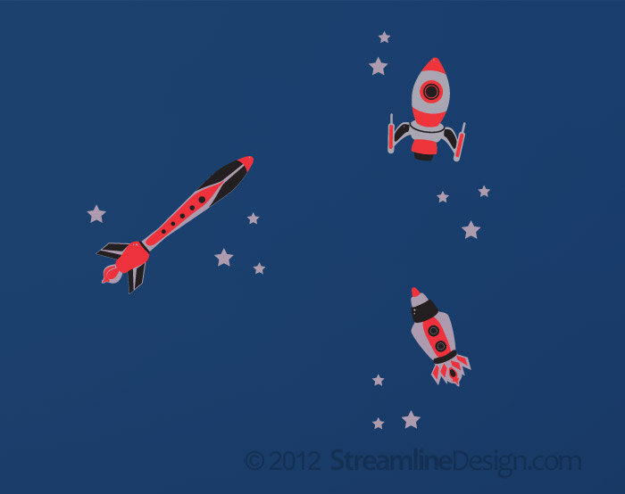 Red Rockets with Stars Vinyl Wall Art