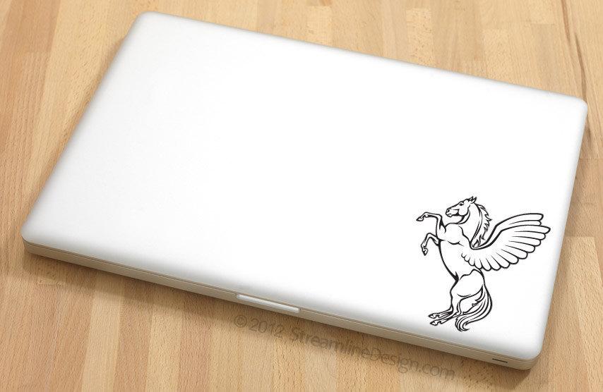 White Pegasus Vinyl Laptop Art